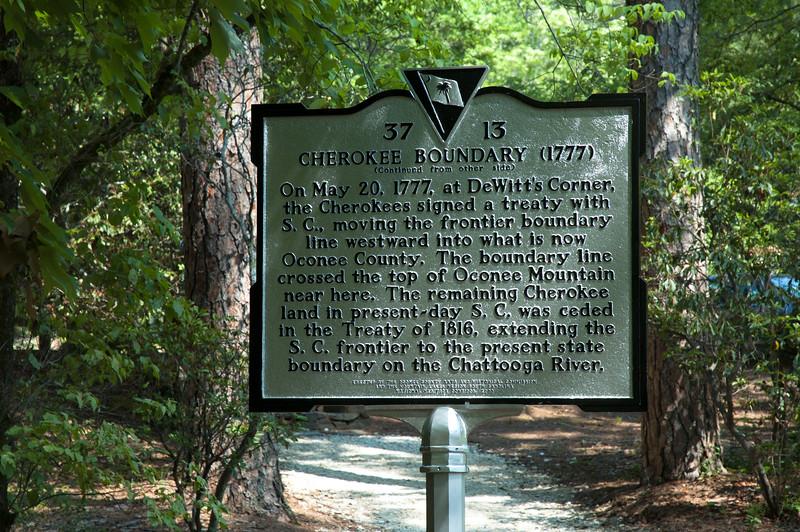 Cherokee boundary marker at Oconee State Park