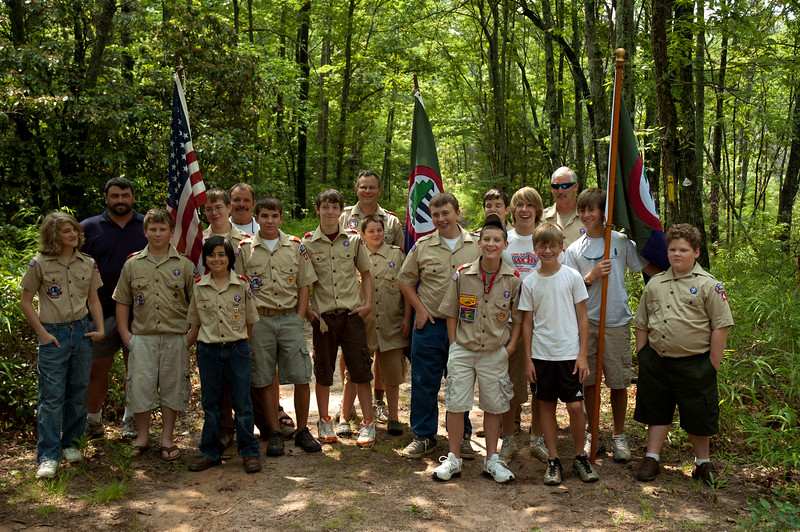 Boy Scout troop at Cherokee boundary marker celebration, Oconee State Park