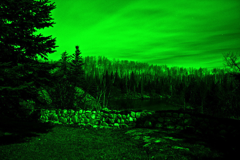 Charlton, Ontario, under a full moon. View down the Englehart River from the grounds of former Charlton Town Hall. Simulated night vision.