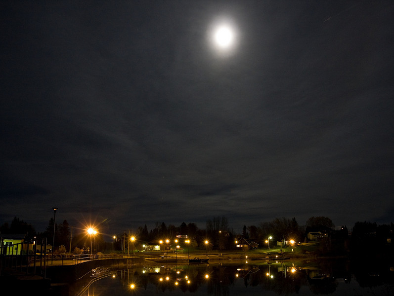 Charlton, Ontario, under a full moon. Looking east from highway towards water plant. Internal reflections reduced. Some perspective correction applied.