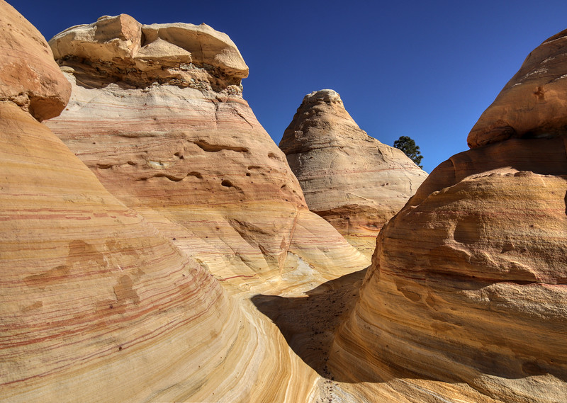 Colorful sandstone sculpted by wind and water