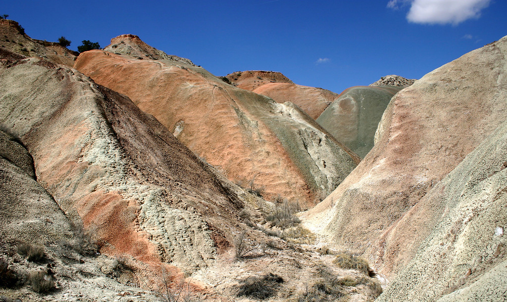 Colorful badlands in the Ojito Springs Wilderness Study Area