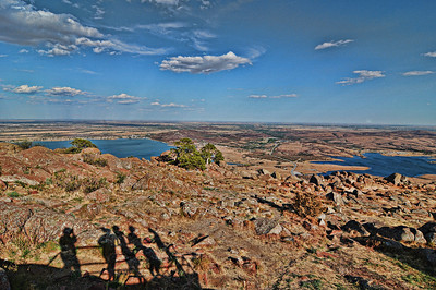 View from the top of Mount Scott.  Lake Lawtonka on the left and Lake Elmer Thomas on the right