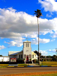 florida, everglades, everglades city, church, summer, palm tree, american flag, blue sky, god, heaven, man, natural,
