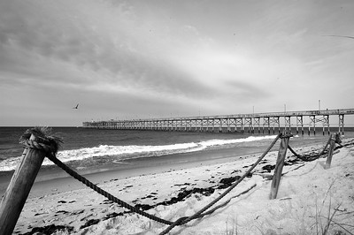 Yaupon Pier Oak Island North Carolina B&W
