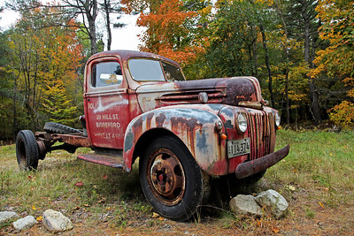 "This old 1944 Ford truck was for sale on the side of the road in Vermont. The sign said, ""Runs Good"". Sure it does. I am surprised it didn't say ""the A/C cools well"" also. I would believe that just the same as I believe it runs good. Roll the windows down in January and it will cool very well."