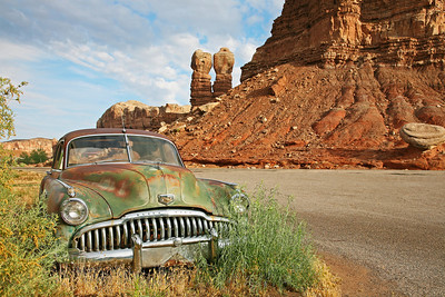 This is a 1949 Buick left on the side of the road near Monument Valley in Utah.