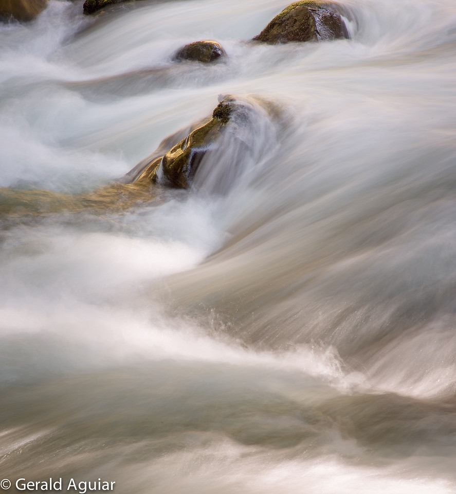 Fast flowing water above Sol Duc Falls.