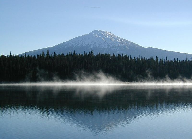 Morning mist and Mt. Batchelor, Oregon