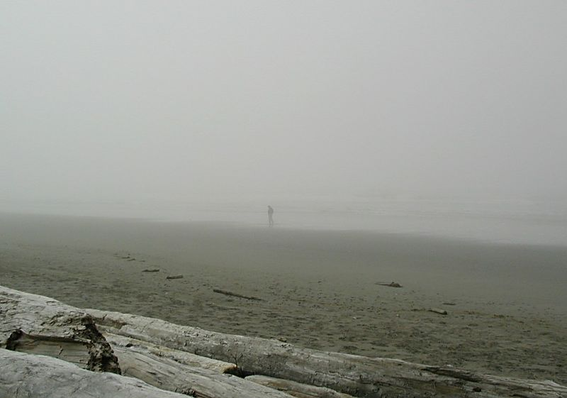 Lonely man reflecting, beach at Olympic Nat'l Park, Washington