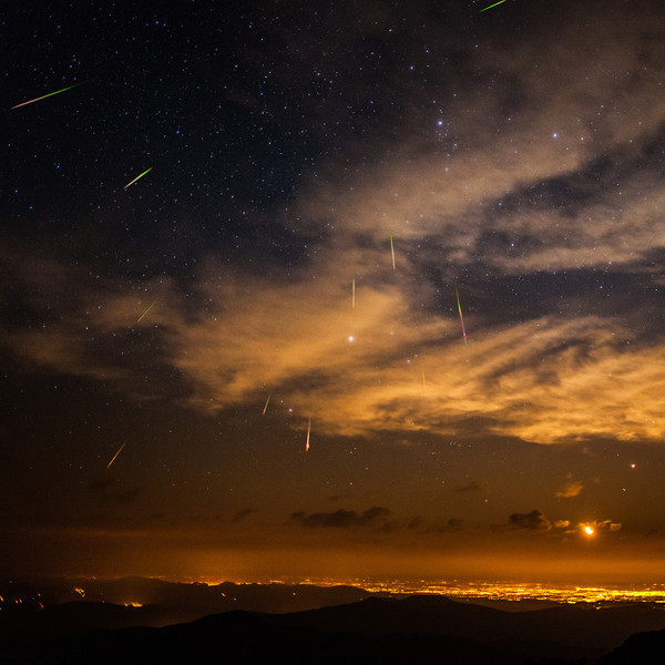 Meteors Over Denver Perseid Meteor Shower over Denver Colorado taken from the Summit of the 14,000+ foot Mt. Evans