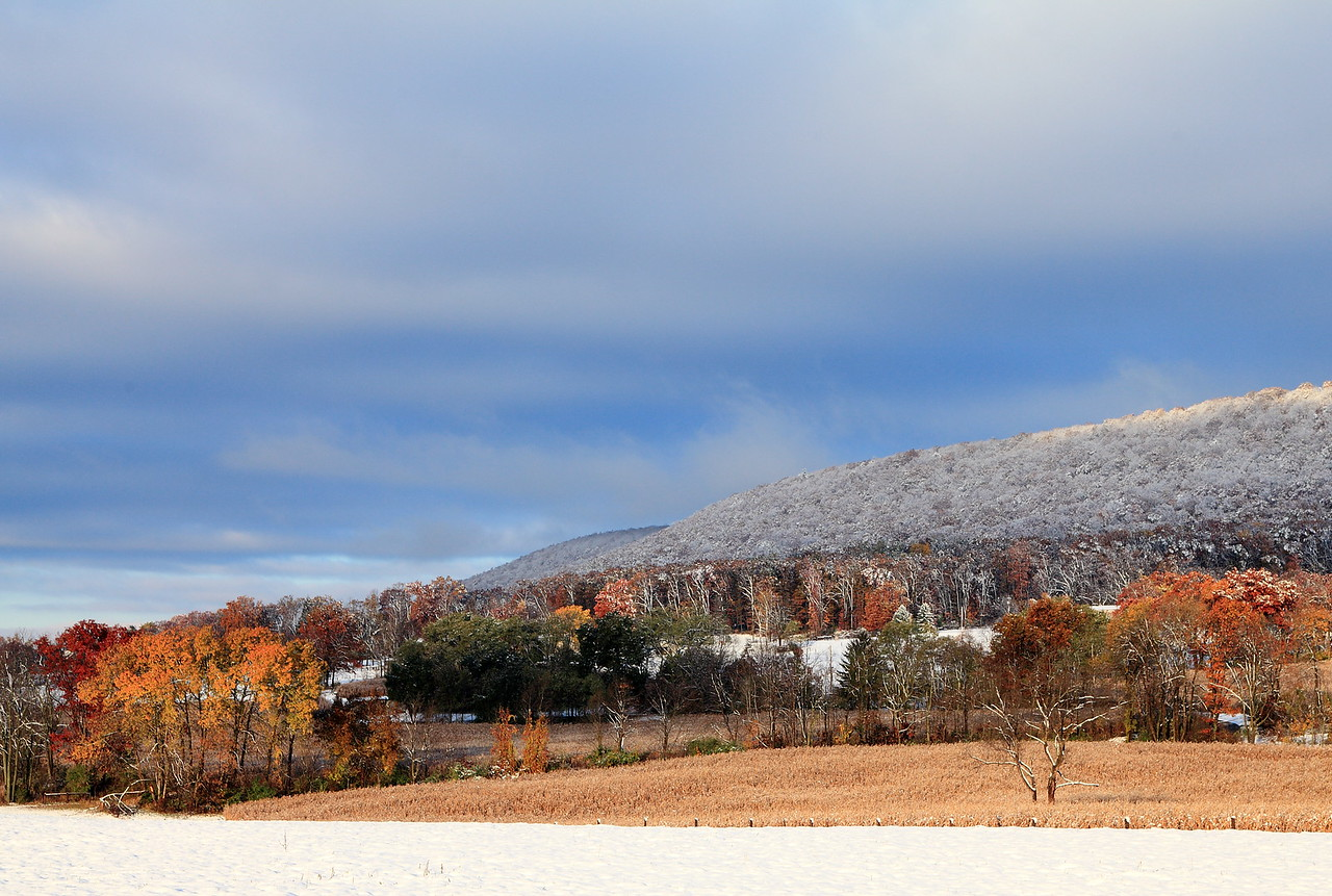 Mt. Nittany from Oak Hall, PA.  Early snow, October 30, 2011.