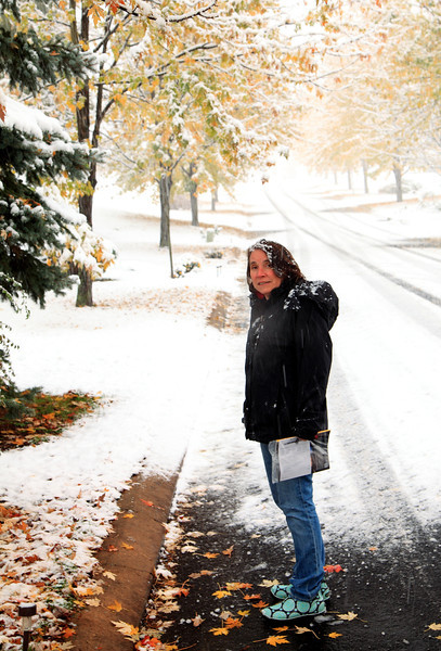 Paula coming home with the mail.  October 29, 2011, Lemont, PA.