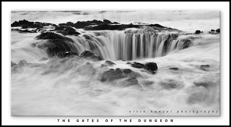 "Gates of the Dungeon<br /> <br /> This is fantastic place i took a shot of recently. It was pretty good morning with decent colors and High tides coming in. I was sanding very close to this well and water was coming little over my knees.<br /> <br /> I would like to thank you all for commenting on my photo of ""snowy seattle 2.0"". If you are on facebook, please check my facebook page:  <a href=""http://www.facebook.com/MagicLightPhotography"">http://www.facebook.com/MagicLightPhotography</a>"