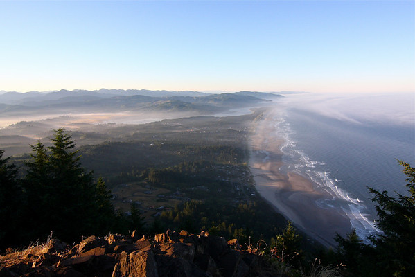 Looking south towards the Nehalem River from the top of Neakhanie Mountain.