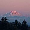 Alpenglow just at the end of the last light of sunset on Mt Jefferson