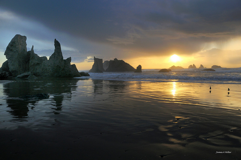 062 Bandon Beach Sea Stacks Sunset