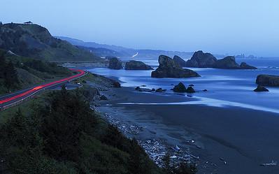 Car trails at Cape Sebastian.