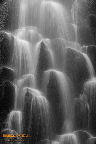 Close up of Lower Proxy Falls - B & W Conversion