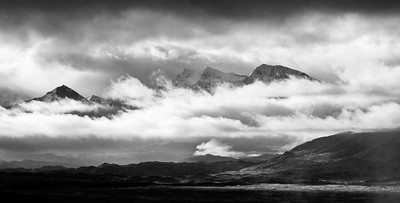 Denali Range shrouded in Clouds