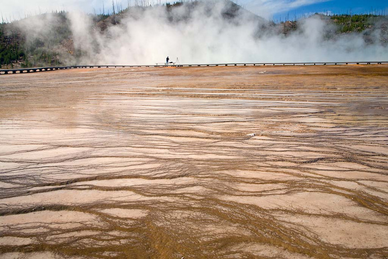 Lone Photographer at the Grand Prismatic Spring