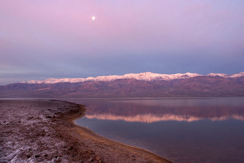 Moon Rise over Badwater, the lowest part of America continent.