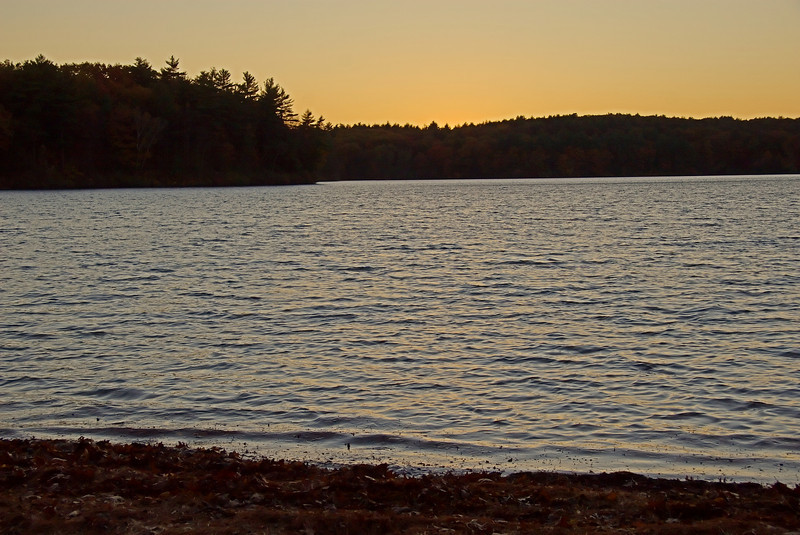 Just past sunset at Walden Pond.