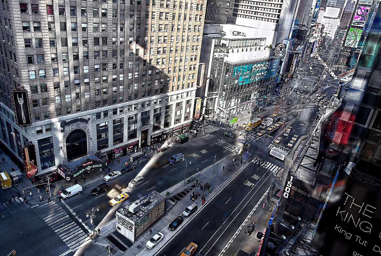 View from 43rd and Broadway atop the Nasdaq sign