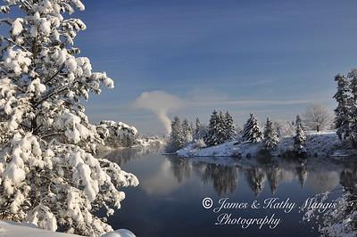 Spokane River Winter scene