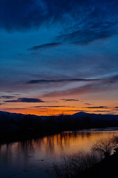 Sunset on the Clark Fork River flowing thru Missoula, Montana