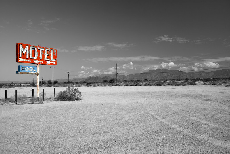 Only the sign is left along the old Route 66 through arizona.