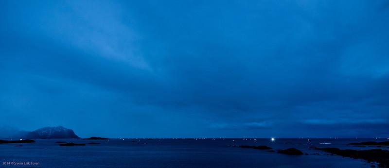 Lanterns at dawn -  Cod fishing fleet outside Nyksund