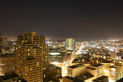 San Francisco at night from hotel room balcony