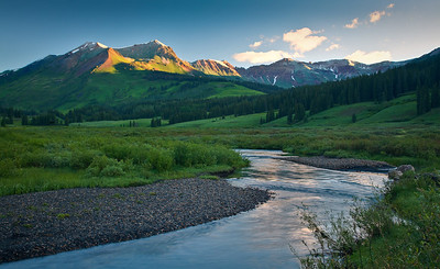 Morning light on the peak from the East River Gothic Road, Gunnison NF