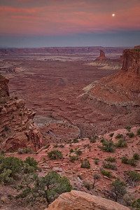 Moon before sunrise, Green River overlook Canyonlands National Park Moab, Utah 10/12/11