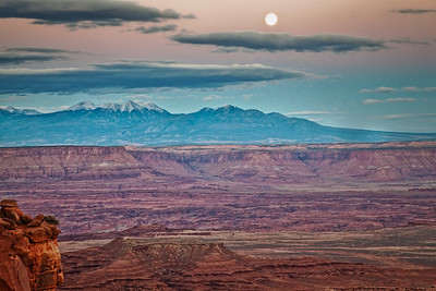 Moon over La Sal Mountains Grandview Point, Canyonlands NP Moab, Utah 10/11/11