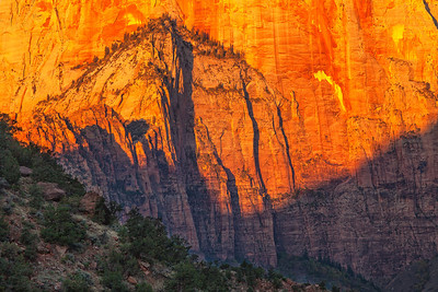 West Temple at sunrise, zoomed in Zion National Park Springdale, Utah  October 14, 2012