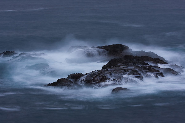 waves after dark on albion coast