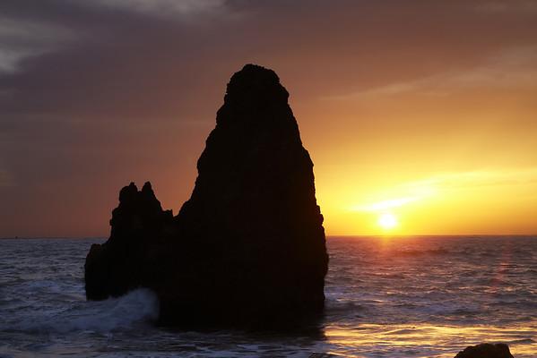 Sea Stacks and the Setting Sun,  Rodeo Beach Marin Headlands