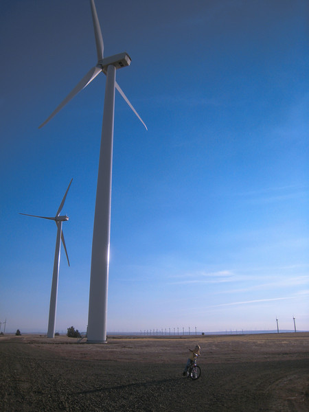 Boy playing under wind turbine