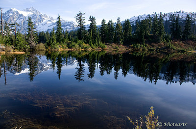 """Reflections of Mt. Shuksan"" By picture lake, Mt. Baker National Forest. #76100839  © Payam Nashery - Photoarts"