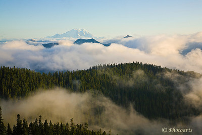 """Seventh Cloud"" View of Mt. Rainier from Kendall Katwalk trail hike. #76071268  © Payam Nashery - Photoarts"