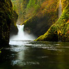 Fall colors at Punchbowl Falls in the Columbia River Gorge, Oregon