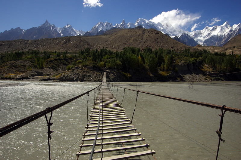 The bridge from Zarabat to Husseini, Upper Hunza