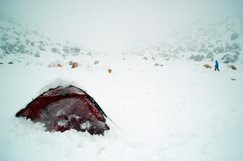 A blizzard at Herrligkoffer Basecamp, Nanga Parbat Rupal Face