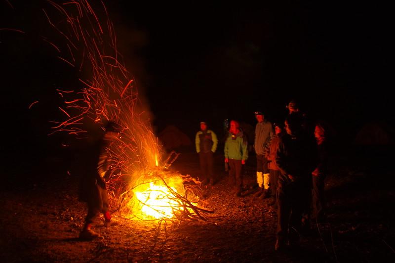Bonfire at Herrligkoffer Basecamp