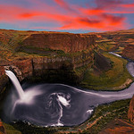 Palouse Falls at Sunset <br /> <br /> Here is one of the shot i took around a month back at Palouse Falls. This time was my fift visit to this falls ( ~4 hours drive from Seattle) in hope of getting some good light and i was lucky this time.<br /> In terms of processing this is blend of 3 shots. One for the Water for long exposure, one very short exposure for the sky and one mid exposure for the surrounding... Enjoy