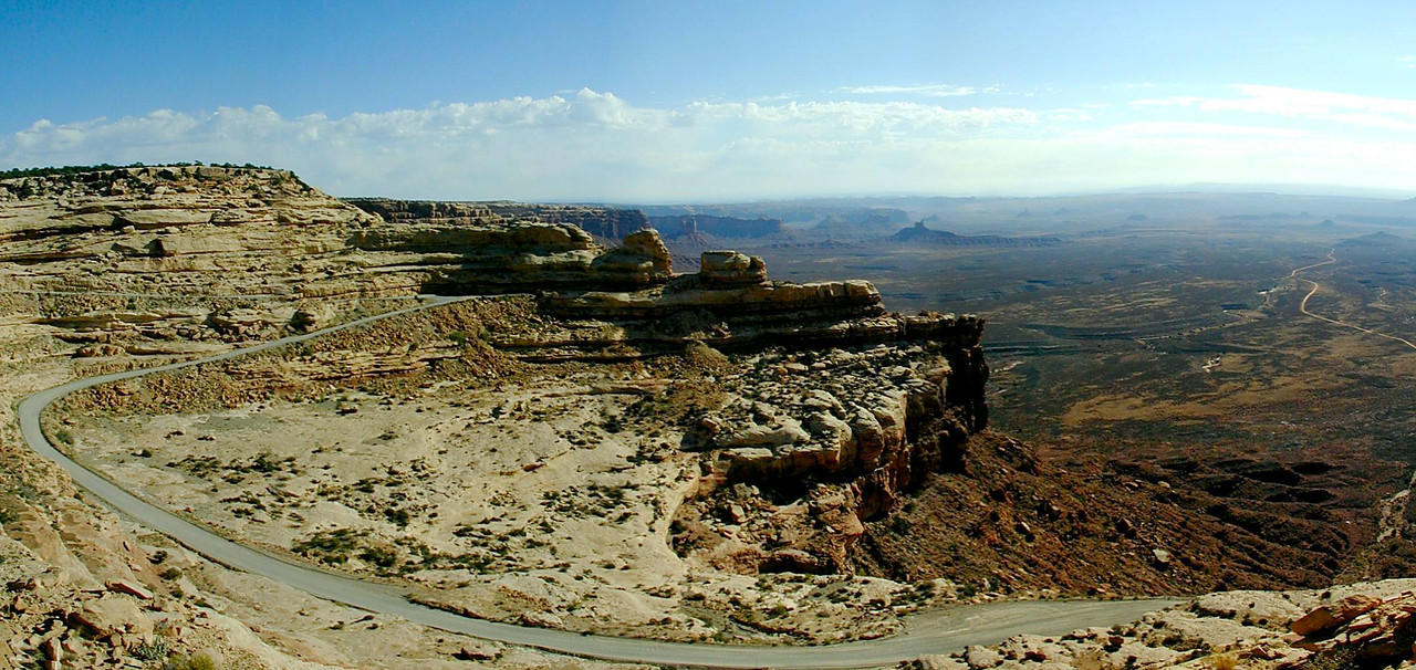 The winding road up to Cedar Mesa --- the Moki Dugway, southern Utah (Valley of the Gods below)
