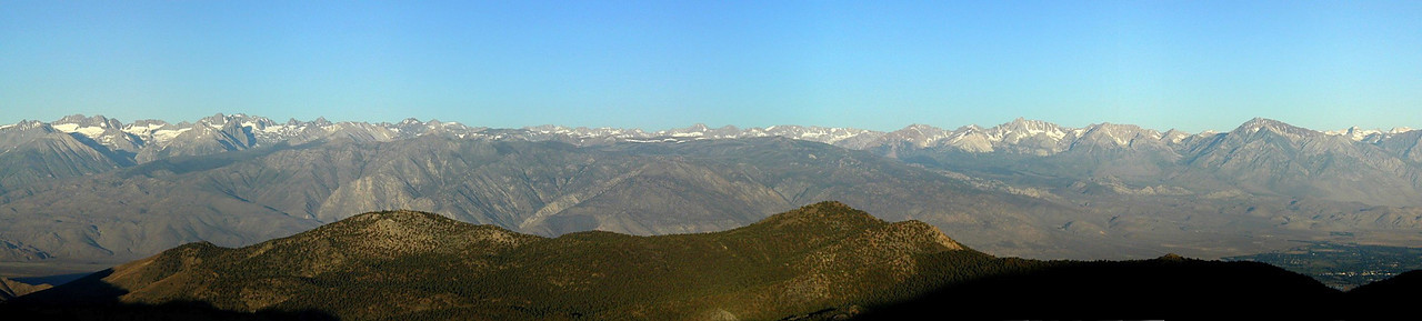 Early Morning, the High Sierra and the town of Bishop (lower right-hand corner) from the White Mountains, Owens Valley, eastern California