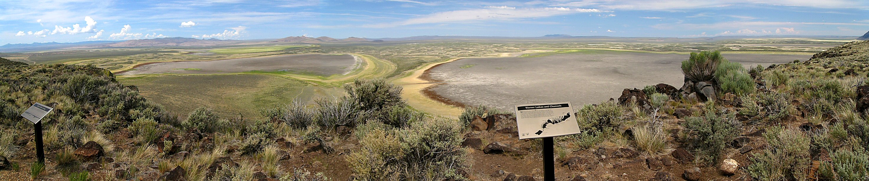 Panorama of the Warner Wetlands at the base of Hart Mountain, southeast Oregon.